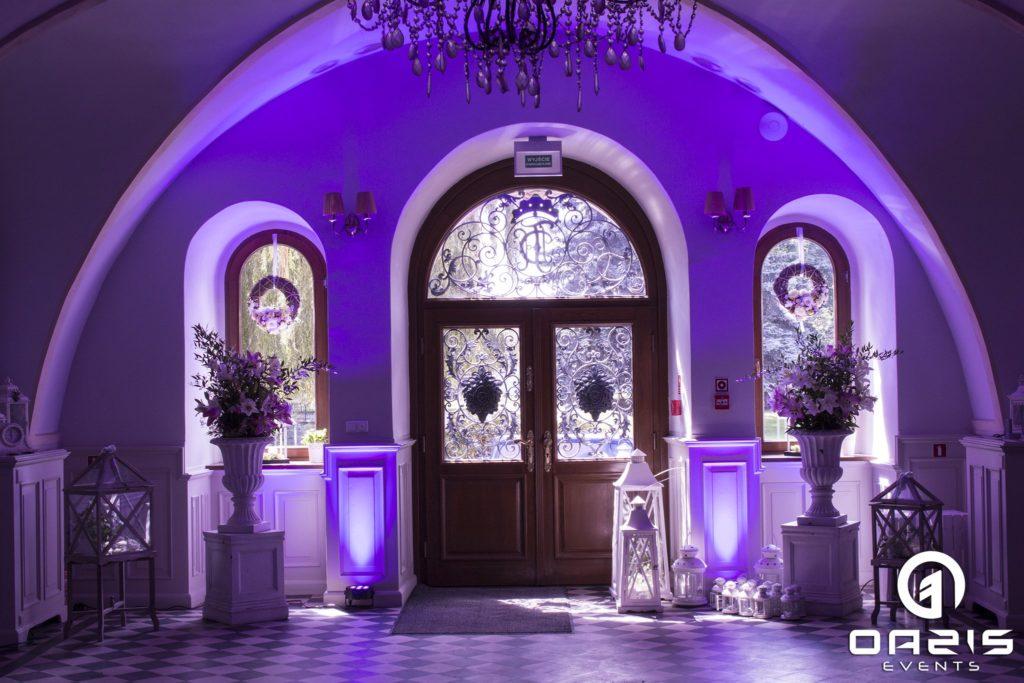 Oświetlenie fiolet i stare pałacowe drzwi Mojęcice