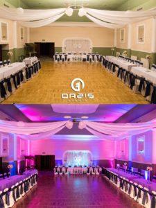 Klub nauczyciela w Legnicy sala weselna przed i po oświetleniu
