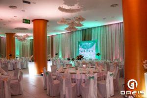 Łosoś i mięta, czyli piękne połączenie kolorów weselnego oświetlenia