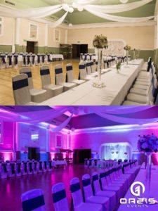Odmieniona sala weselna Klub nauczyciela w Legnicy przed i po dekoracji światłem