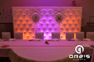 Ścianka ślubna z dekoracją światłem