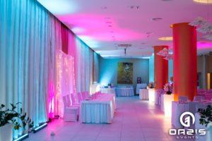 Sala weselna Hotel Europa Lubin i dekoracja światłem