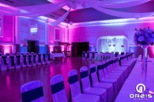 Klub nauczyciela w Legnicy - niebieskie i rózowe światło