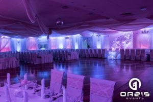 Dekoracja światłem w sali balowej hotelu Chata Karczowiska