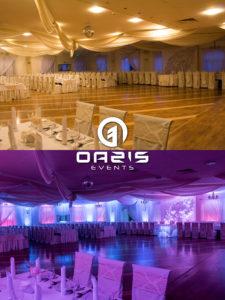 Dekoracja światłem na wesele przed i po