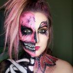 charakteryzacja, halloween, halfface, czaszka, kontrast