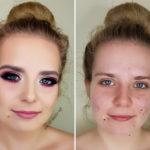 metamorfoza makijaz upiększający, podkreślone oko uśmiech, bordowe oko
