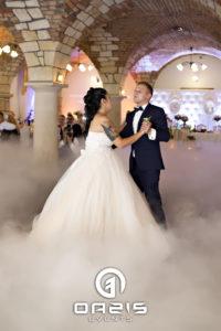 taniec w chmurach pary młodej w ceglanym dworku w Chojnowie